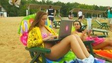 4. Анжелика Каширина и Евгения Крегжде отдыхают на пляже – Даёшь молодёжь!